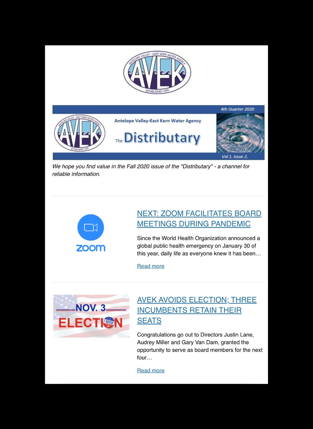 streamline AVEK Newsletter