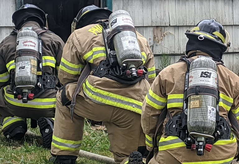 Firefighters during training operations